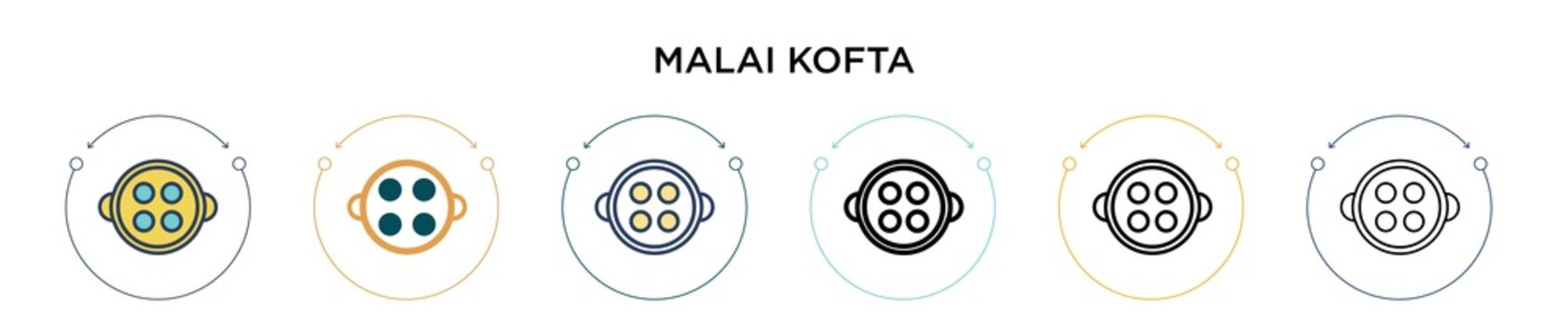 Malai kofta icon in filled, thin line, outline and stroke style. Vector illustration of two colored and black malai kofta vector icons designs can be used for mobile, ui, web