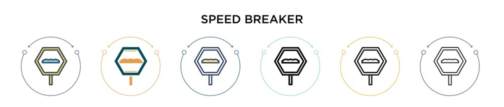 Speed breaker sign icon in filled, thin line, outline and stroke style. Vector illustration of two colored and black speed breaker sign vector icons designs can be used for mobile, ui, web