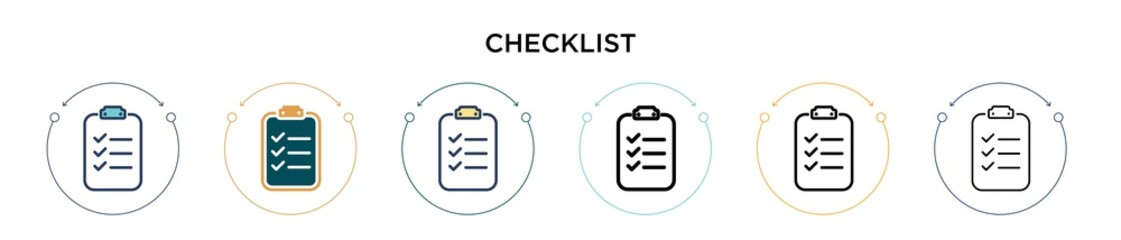 Checklist icon in filled, thin line, outline and stroke style. Vector illustration of two colored and black checklist vector icons designs can be used for mobile, ui, web