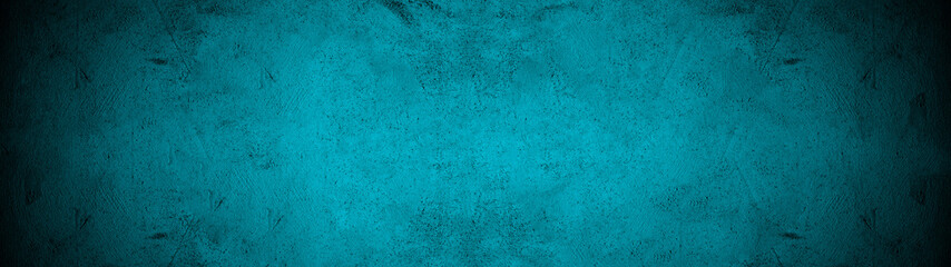 Dark black turquoise aquamarine stone concrete paper texture background panorama banner long, with space for text