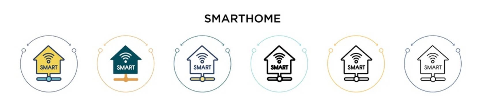 Smarthome icon in filled, thin line, outline and stroke style. Vector illustration of two colored and black smarthome vector icons designs can be used for mobile, ui, web