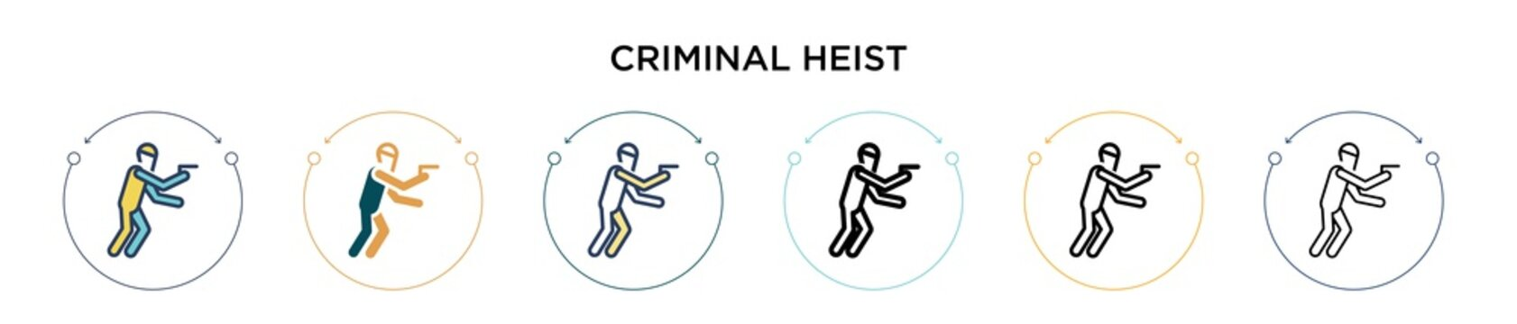 Criminal heist icon in filled, thin line, outline and stroke style. Vector illustration of two colored and black criminal heist vector icons designs can be used for mobile, ui, web