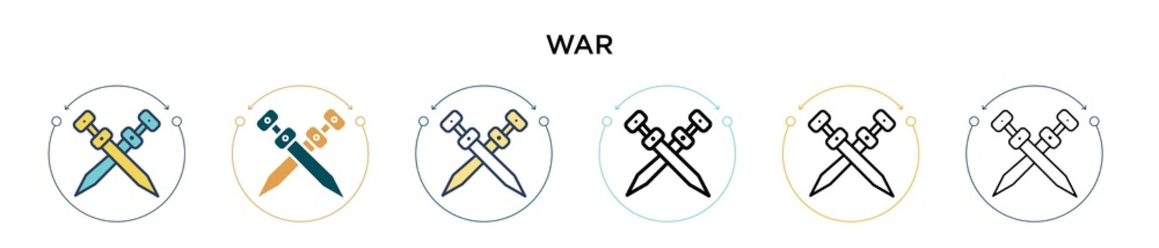 War icon in filled, thin line, outline and stroke style. Vector illustration of two colored and black war vector icons designs can be used for mobile, ui, web