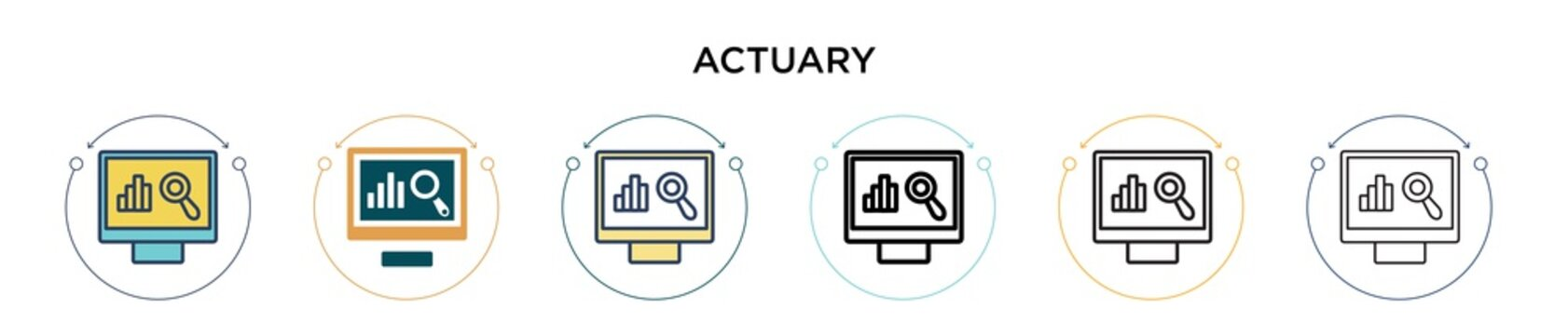 Actuary icon in filled, thin line, outline and stroke style. Vector illustration of two colored and black actuary vector icons designs can be used for mobile, ui, web