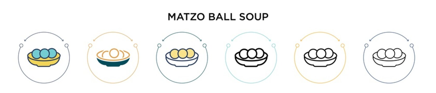 Matzo ball soup icon in filled, thin line, outline and stroke style. Vector illustration of two colored and black matzo ball soup vector icons designs can be used for mobile, ui, web