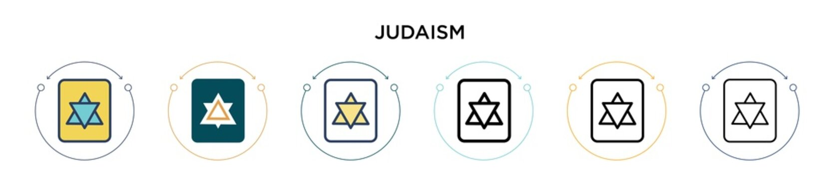 Judaism icon in filled, thin line, outline and stroke style. Vector illustration of two colored and black judaism vector icons designs can be used for mobile, ui, web