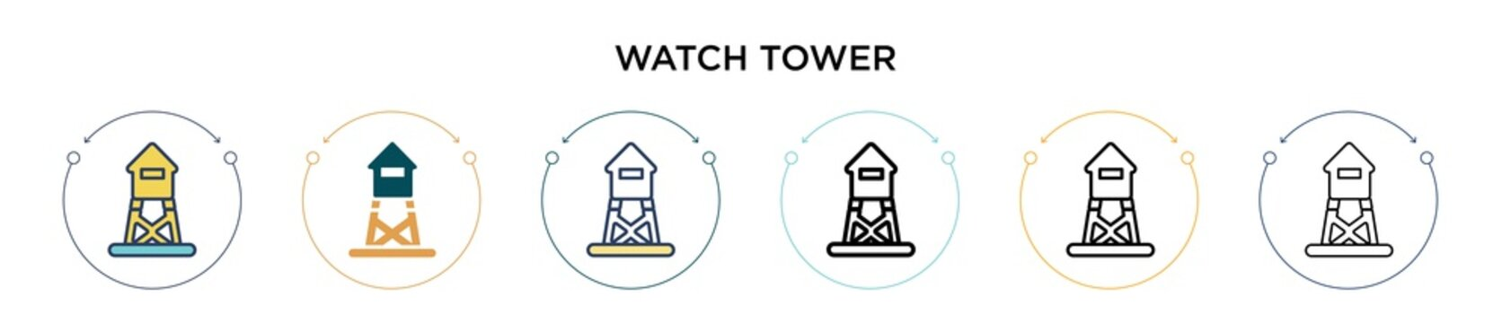 Watch tower icon in filled, thin line, outline and stroke style. Vector illustration of two colored and black watch tower vector icons designs can be used for mobile, ui, web