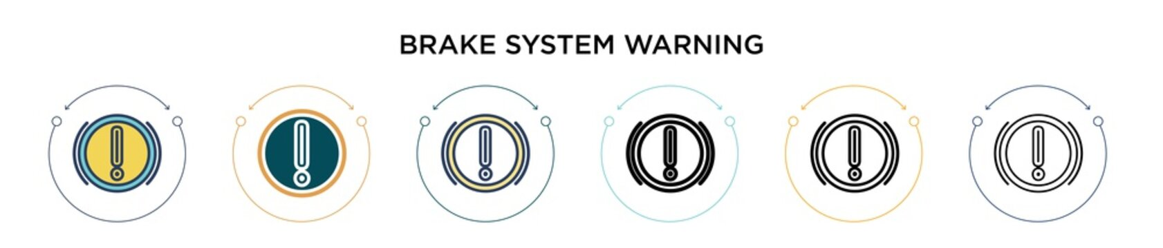 Brake system warning icon in filled, thin line, outline and stroke style. Vector illustration of two colored and black brake system warning vector icons designs can be used for mobile, ui, web
