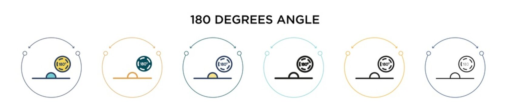 180 degrees angle icon in filled, thin line, outline and stroke style. Vector illustration of two colored and black 180 degrees angle vector icons designs can be used for mobile, ui, web