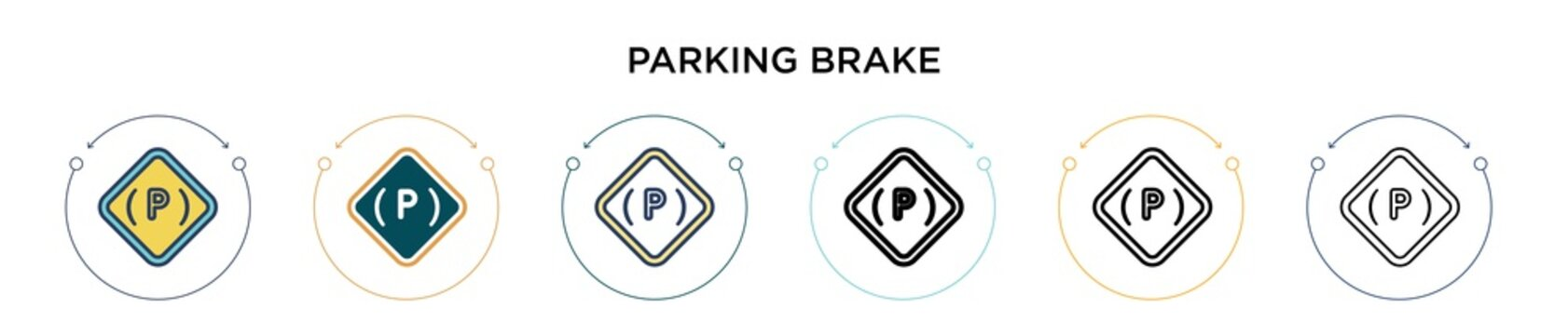 Parking brake icon in filled, thin line, outline and stroke style. Vector illustration of two colored and black parking brake vector icons designs can be used for mobile, ui, web