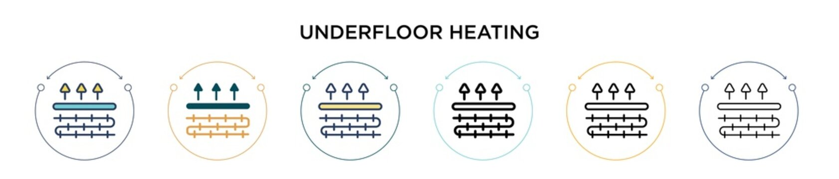 Underfloor heating icon in filled, thin line, outline and stroke style. Vector illustration of two colored and black underfloor heating vector icons designs can be used for mobile, ui, web