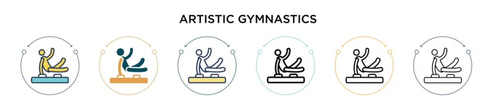 Artistic gymnastics icon in filled, thin line, outline and stroke style. Vector illustration of two colored and black artistic gymnastics vector icons designs can be used for mobile, ui, web
