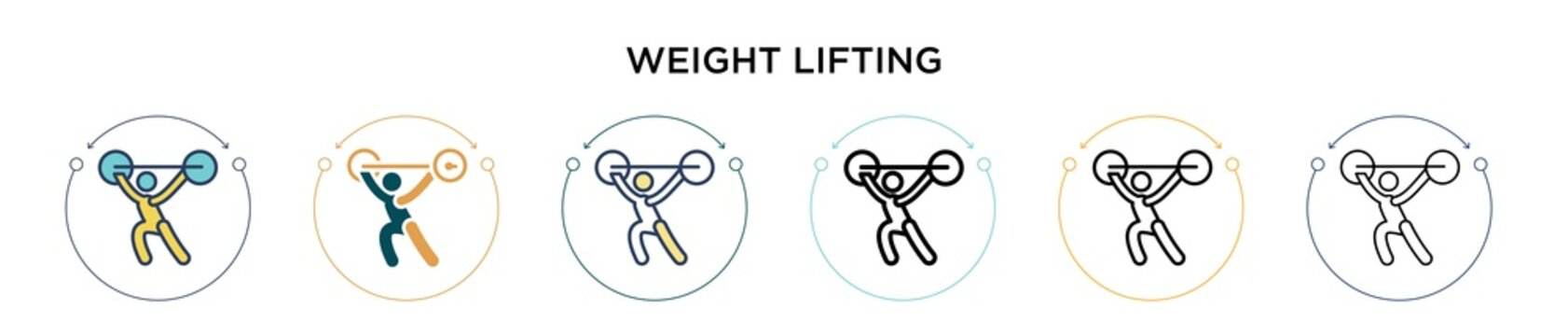 Weight lifting icon in filled, thin line, outline and stroke style. Vector illustration of two colored and black weight lifting vector icons designs can be used for mobile, ui, web