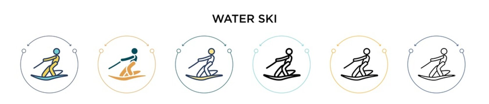 Water ski icon in filled, thin line, outline and stroke style. Vector illustration of two colored and black water ski vector icons designs can be used for mobile, ui, web