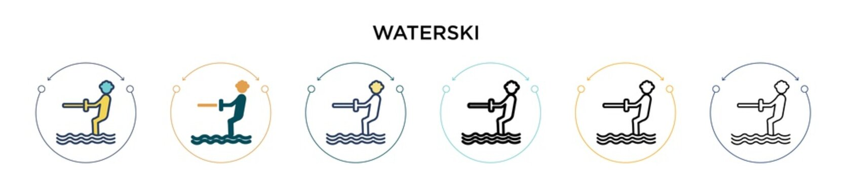 Waterski icon in filled, thin line, outline and stroke style. Vector illustration of two colored and black waterski vector icons designs can be used for mobile, ui, web