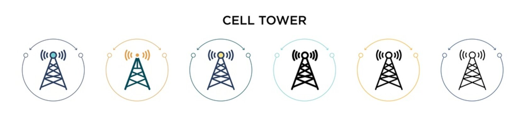Cell tower icon in filled, thin line, outline and stroke style. Vector illustration of two colored and black cell tower vector icons designs can be used for mobile, ui, web