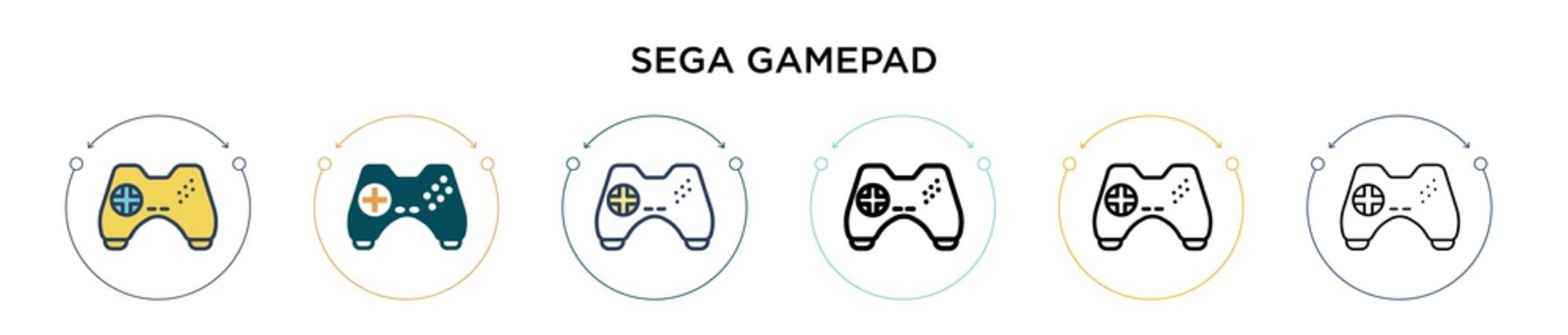 Sega gamepad icon in filled, thin line, outline and stroke style. Vector illustration of two colored and black sega gamepad vector icons designs can be used for mobile, ui, web