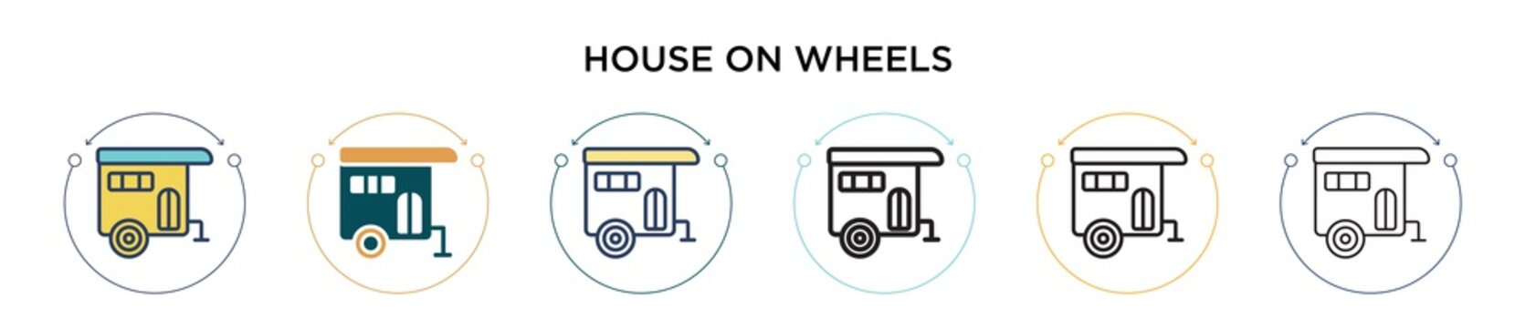 House on wheels icon in filled, thin line, outline and stroke style. Vector illustration of two colored and black house on wheels vector icons designs can be used for mobile, ui, web