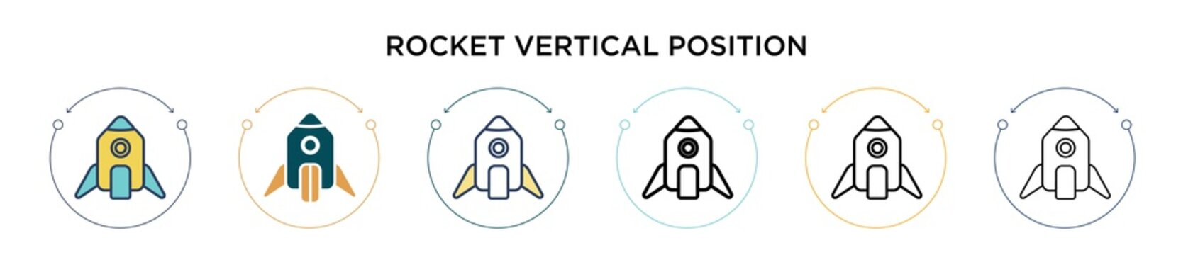 Rocket vertical position icon in filled, thin line, outline and stroke style. Vector illustration of two colored and black rocket vertical position vector icons designs can be used for mobile, ui, web