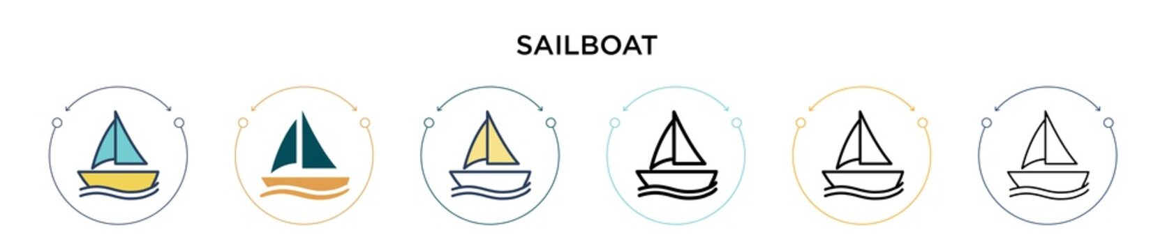 Sailboat icon in filled, thin line, outline and stroke style. Vector illustration of two colored and black sailboat vector icons designs can be used for mobile, ui, web