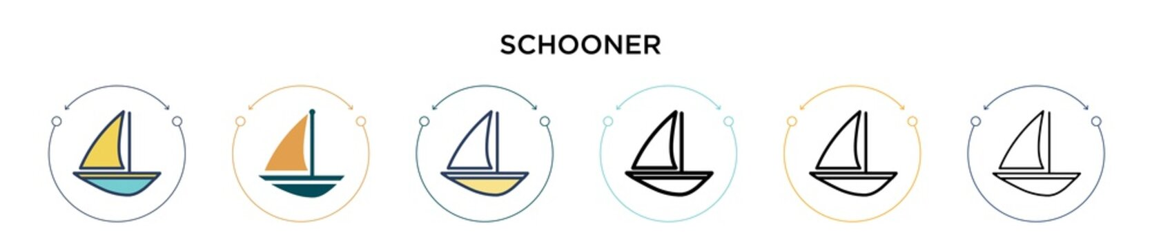 Schooner icon in filled, thin line, outline and stroke style. Vector illustration of two colored and black schooner vector icons designs can be used for mobile, ui, web