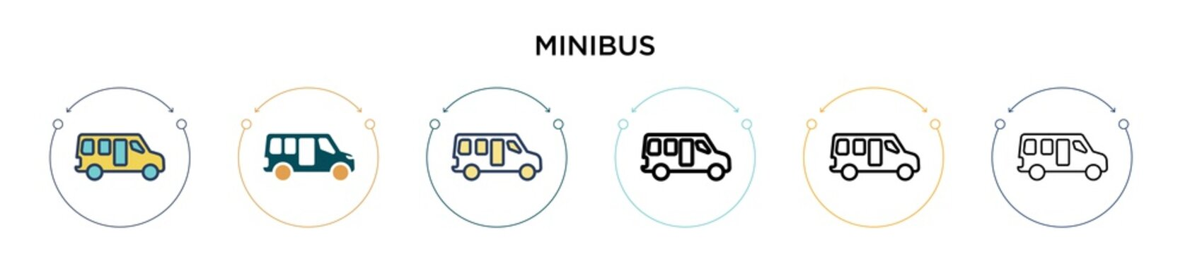 Minibus icon in filled, thin line, outline and stroke style. Vector illustration of two colored and black minibus vector icons designs can be used for mobile, ui, web
