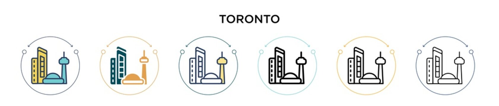 Toronto icon in filled, thin line, outline and stroke style. Vector illustration of two colored and black toronto vector icons designs can be used for mobile, ui, web