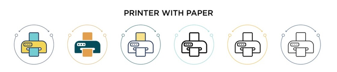 Printer with paper icon in filled, thin line, outline and stroke style. Vector illustration of two colored and black printer with paper vector icons designs can be used for mobile, ui, web