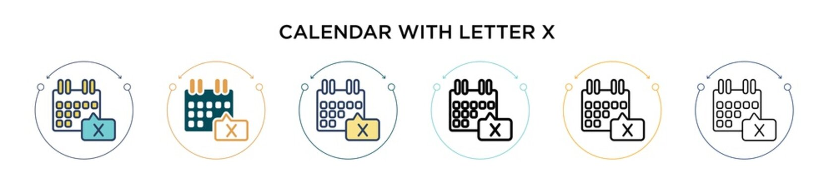 Calendar with letter x icon in filled, thin line, outline and stroke style. Vector illustration of two colored and black calendar with letter x vector icons designs can be used for mobile, ui, web