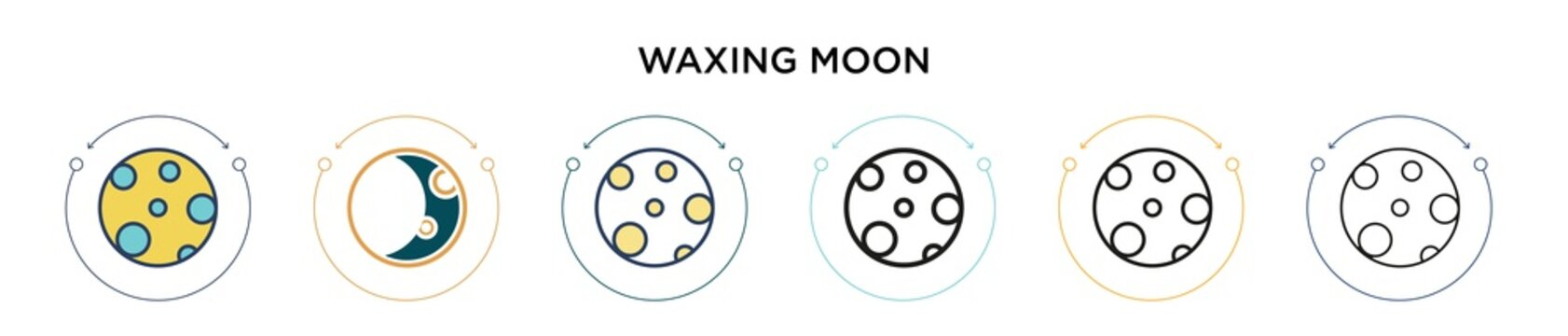 Waxing moon icon in filled, thin line, outline and stroke style. Vector illustration of two colored and black waxing moon vector icons designs can be used for mobile, ui, web