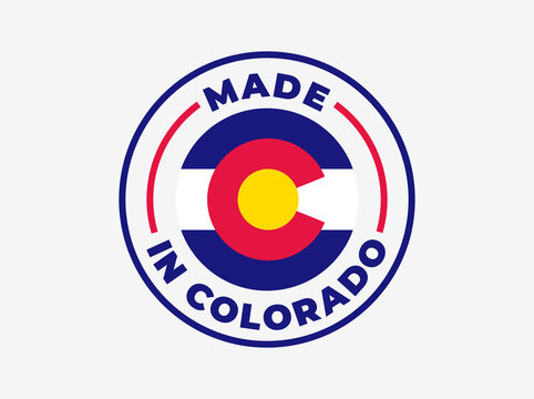 """Made in Colorado"" vector icon. Illustration with transparency, which can be filled with white, or used against any background. State flag encircled with text and lines."