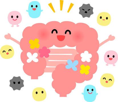 腸内フローラのかわいいキャラクターイラスト