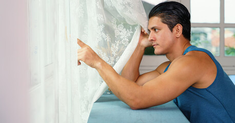 man self isolation alone at home during lockdown