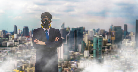 businessman with gas mask in city covered with pm 2.5 and air pollution