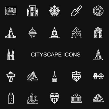 Editable 22 cityscape icons for web and mobile