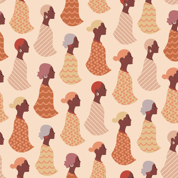 Beautiful black women abstract seamless pattern. Repetitive vector illustration texture of abstract black African women.