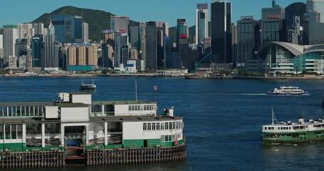 Wall Mural - Hong Kong clock tower and pier