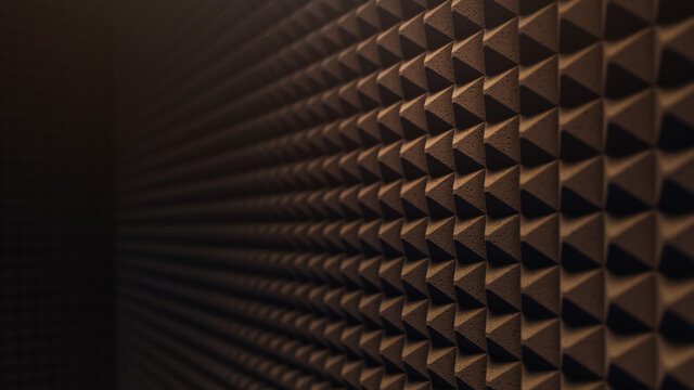 3D rendering, illustration of a soundproofing foam wall , porous texture material