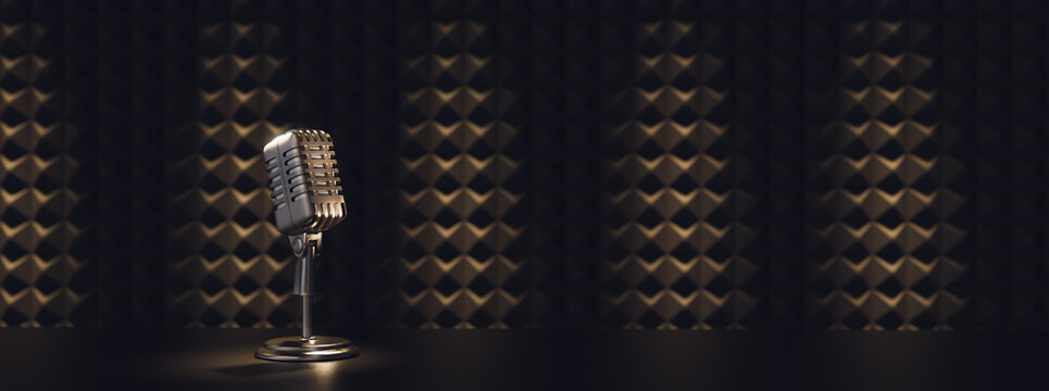 vintage microphone in a sound recording studio. 3D illustration, rendering