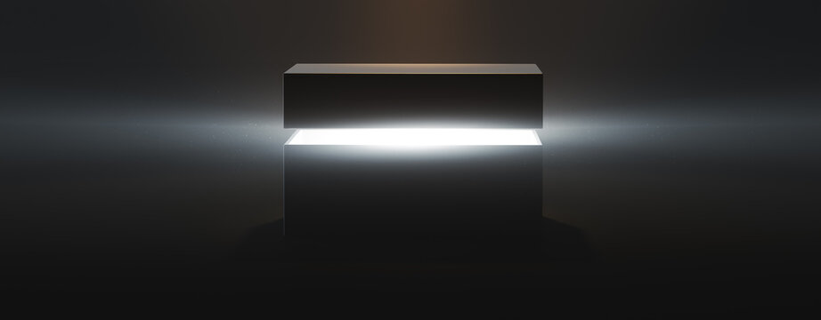 mysterious pandora box opening with rays of light, high contrast image, ( 3D Rendering, illustration )