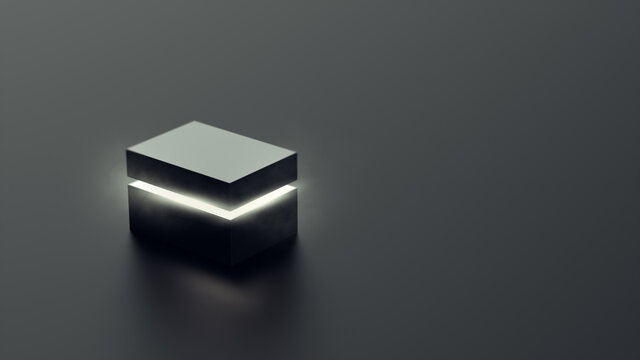 mysterious magical box opening with rays of light, high contrast image, ( 3D Rendering, illustration )