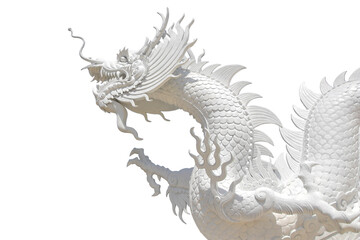 white dragon isolated on white background