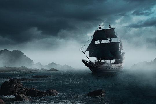 ( 3D illustration, Rendering ) VIntage black pirate ship sailing at sea.
