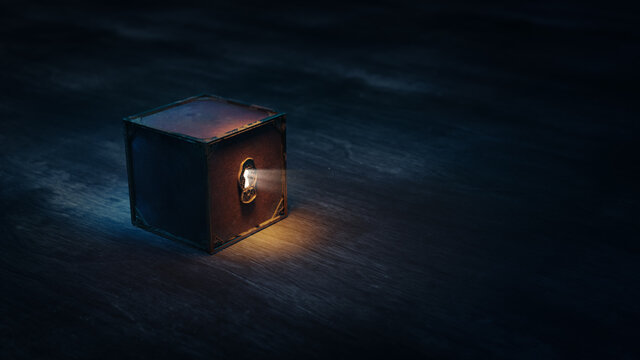 (3D Rendering, Illustration) Mysterious locked box with light coming through its keyhole on a dark background
