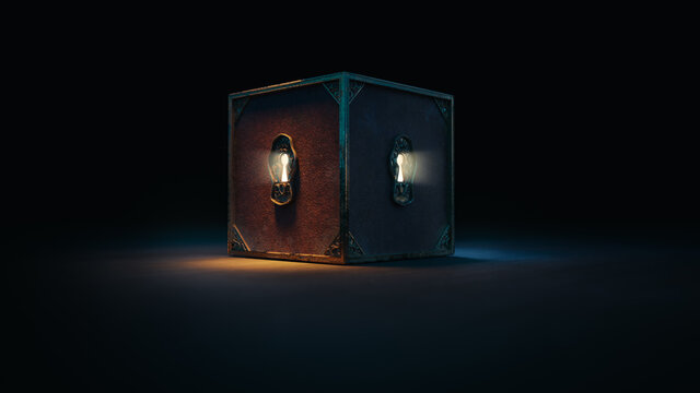 (3D Rendering, Illustration) Mysterious locked box with keyholes on a dark background