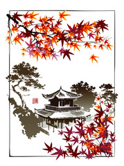 Temple, pagoda on the background of maple branches. The signification of the seal is the name of the author, hieroglyphs White Wolf. Vector illustration in oriental style.
