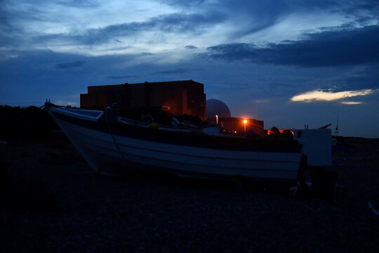 Night falls on Sizewell Nuclear Power Station in Sizewell