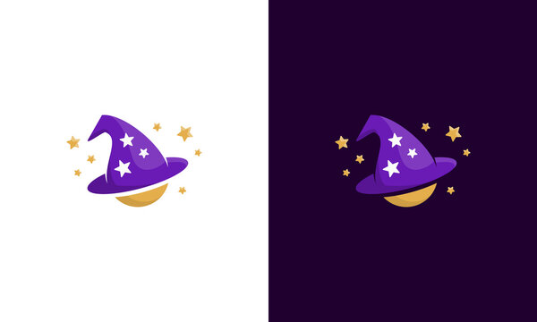 illustration vector graphic of modern, unique, creative, trendy, abstract mark for combination icons wizard and planet logo design