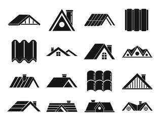 Obraz Roof icons set. Simple set of roof vector icons for web design on white background - fototapety do salonu