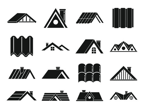 Roof icons set. Simple set of roof vector icons for web design on white background